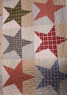 Free Primitive Star Quilt Pattern   Austin Primitive Americana Stars Cotton Quilt reverse Austin Primitive ...