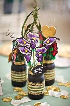 Perler bead centerpiece: Irises