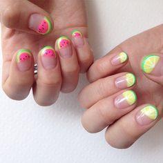 Watermelon and lime nails