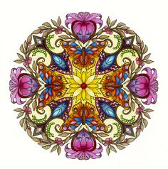Mandala by cynthia emerlye coloring by harold suttles. Mandalas Drawing, Mandala Design, Mandala Art, Coloring Books, Coloring Pages, Christmas Flowers, Flower Center, Mosaic Pictures, Fractals