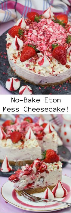 - No-Bake Eton Mess Cheesecake! A Creamy, Sweet and Delicious No-Bake Eton Mess C… No-Bake Eton Mess Cheesecake! A Creamy, Sweet and Delicious No-Bake Eton Mess Cheesecake with Fresh Strawberries, Home Made Meringues, and oodles of Cheesecake Goodness! Gourmet Recipes, Sweet Recipes, Baking Recipes, Dessert Recipes, Savoury Recipes, Dessert Ideas, Cake Ideas, Merangue Recipe, Yummy Treats