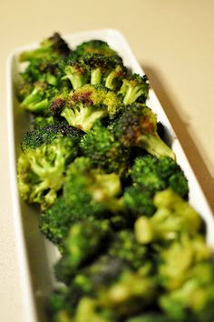 Roasted Broccoli: Drizzle with olive oil and lemon juice, sprinkle with salt, pepper, garlic, and Parmesan.  Bake at 400 for 20 min, stirring halfway thru cooking.  Hubby loves broccoli this way!