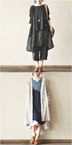 Black and gray long cotton linen coat wind shirt
