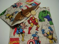 2pc Set Marvel Comics Super Heroes Reusable Sandwich and Snack Bag $8 #etsy #backtoschool #reusable