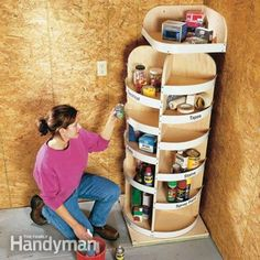 Corner Storage Project - What a great way to use corner space for organizing items. Lazy Susans allow it to rotate for easy access. You can also add cans or small buckets to the shelves to store smaller items such as screws and nails.