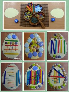 "Roll the dice - use that many of each item to decorate the egg. Patterns on eggs from Rachel ("",)"