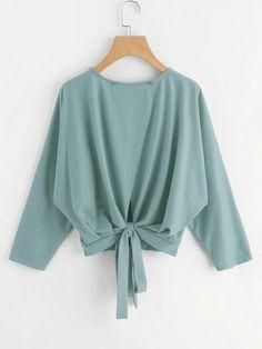 Shop Overlap Tie Back Sweatshirt online. SHEIN offers Overlap Tie Back Sweatshirt & more to fit your fashionable needs. Look Fashion, Trendy Fashion, Fashion News, Girl Fashion, Autumn Fashion, Muslim Fashion, Hijab Fashion, Fashion Dresses, Girls Fashion Clothes