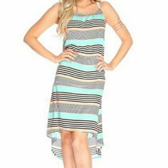 SOLD IN BUNDLE***BEAUTIFUL HI-LO SUNDRESS Beautiful HI-LO Sundress, 100% Cotton, fashionable lace straps, bright color stripe design. Get ready for summer! Dresses High Low