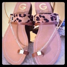 ✨✨EXQUISITE GUESS SANDALS NWOT Delicate design with animal print and exquisite chain. NEW with box. Guess Shoes Flats & Loafers