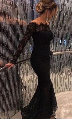 Classy Prom Dresses, Black Prom Dresses,Prom Dress,Beaded Black Lace Off The Shoulder Backless Mermaid Formal Gown With Long Sleeve Prom Dresses Long Prom Dresses Long With Sleeves, Elegant Prom Dresses, Black Prom Dresses, Formal Evening Dresses, Trendy Dresses, Dress Prom, Dress Black, Long Sleeve Formal Dress, Long Dress Formal Elegant