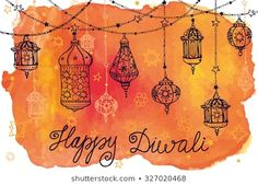 Find Happy Diwali Festivalindia Traditional Hanging Lampdoodlewatercolor stock images in HD and millions of other royalty-free stock photos, illustrations and vectors in the Shutterstock collection. Thousands of new, high-quality pictures added every day. Diwali Wishes Greeting Cards, Diwali Greetings Quotes, Happy Diwali Quotes, Happy Diwali Images, Diy Diwali Cards, Diy Cards, Diwali Painting, Diwali Drawing, Diwali Festival Drawing