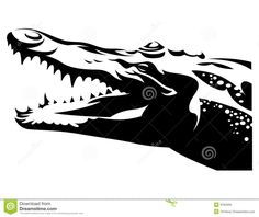 Crocodile Head Black And White Alligator Tattoo, Head Tattoos, Tatoos, Alligator Crafts, Crocodile Tattoo, Royalty Free Clipart, Craft Day, Tattoo Stencils, Paper Models