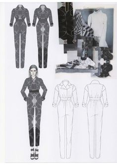 Fashion Design Sketchbook - printed jumpsuit design illustrations & swatches; fashion portfolio // Emily-Mei Cross