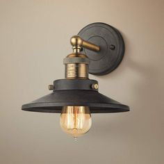 English Pub 8 Inchh Brass And Tarnished Graphite Wall Sconce Barn Lighting, Outdoor Wall Lighting, Wall Sconce Lighting, Wall Sconces, House Lighting, Industrial Lighting, Rustic Industrial, Lighting Ideas, Chandeliers