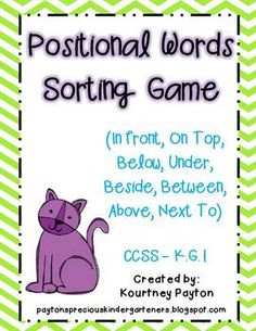 Positional Words Sorting Game Common Core K.G.1