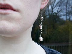 Silver Squiggle and Pink Shell Dangle Earrings by BugTaxi on Etsy, $16.00