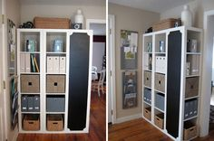 Turn one shelf of the expedit ikea bookshelf on it's side and make it a chalkboard!