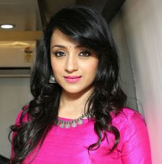 Trisha Krishnan in Silver Kasu Necklace and Jhumkas