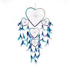 "Dream Catcher ~ Handmade Aqua Purple & White Heart Shape with Silver String 8.5"" Heart & 24"" Long!"