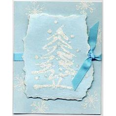 This Christmas tree card is cool with the torn paper edges.