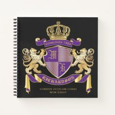 Make Your Own Coat of Arms Monogram Crown Emblem Notebook - create your own gifts personalize cyo custom