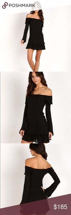 Stone cold fox black off shoulder dress Size 1 black off the shoulder dress. Worn once. Dry cleaned. Stone Cold Fox Dresses Long Sleeve