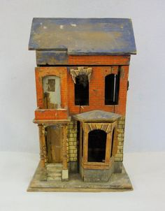 """This is a late 19th century, Blue Roof Gottschalk dollhouse. I have a more complete model of this house that was repapered and then white-washed. This was listed as an """"Early 2 story doll house attributed to Bliss - House : Lot 11"""""""