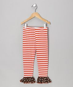 Take a look at this Orange Stripe Flounce Leggings - Toddler & Girls by SILLY MILLY on #zulily today!