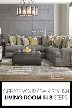 Discover the key pieces of a comfy living room with our Palm Springs room break down. The sectional's plush woven upholstery has a lavish feel and on trend gray color. Add an upholstered ottoman that doubles as a coffee table.  Finish with a pop of yellow in the area rug, and you have a room that's modern and inviting.