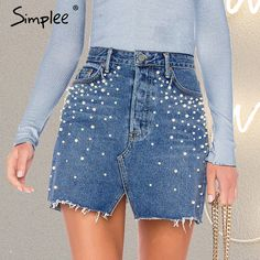 Casual Split Pearls Denim Women Button Skinny Diamond Mini S Denim Skirt Outfits, Jeans Dress, Denim Fashion, Fashion Models, Fashion Clothes, Fashion Women, Trendy Clothing, Clothing Stores, Women's Clothing