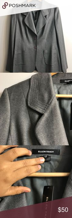 NWT Ellen Tracy Grey Blazer 🖤 Garb jam: 'Material Girl' - Madonna  • Was meant as gift, but never given/worn. NWT • Can model if necessary • GORGEOUS button detail, they're almost periwinkle • This blazer is lovely and I hate to let it sit in my closet!! Take this beauty off my hands ❤️  Size 12 (L) Ellen Tracy Jackets & Coats Blazers