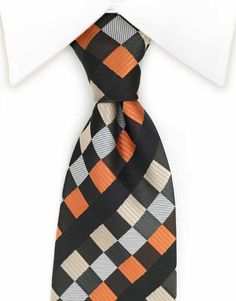 The mixed combination of the dark brown, black, orange, silver, grey and taupe squares adds diversity to your outfit!