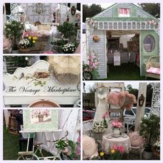 """Friday we had the busiest day of the history of our show! thank you to everyone!!! Here is a collage my daughter made so you can see my booth fully set up and also a bit of our front entrance...please check out """"THE VINTAGE MARKETPLACE"""" FB page for up coming photos of more of the show. https://www.facebook.com/pages/The-Vintage-Marketplace/142866075779195?ref=br_rs"""