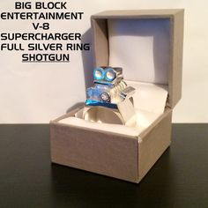 Unique Big Block Entertainment V8 Supercharger Full Polished Silver Ring