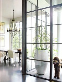 These steel and glass windows are so gorgeous ... I want to replace walls of my house with them! Just one of many steel and glass windows featured today!