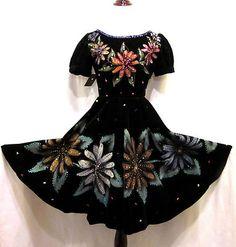 253a72ed8 Details about Vtg 1960s HAND-PAINTED   SEQUINED FESTIVE FLORAL MEXICAN  PUEBLO VELVET Dress S