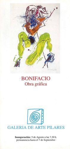 Obra gráfica de Bonifacio en la Galería de Arte Pilares Cuenca Agosto 1998 #GaleriaPilares #Cuenca #Bonifacio