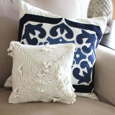DIY tutorial for how to make this gorgeously nautical braided yarn pillow, as well as diy projects for other goodies (and recipes!)