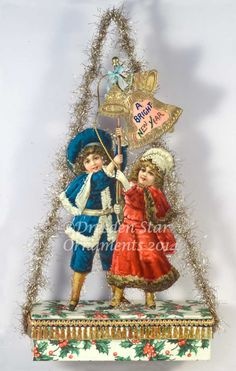 """Happy New Year"" Large Candy Container Ornament, with Children Ringing Bells. ""A Bright New Year"" Victorian Christmas Decorations, Antique Christmas Ornaments, Homemade Christmas Decorations, Vintage Christmas Images, Vintage Ornaments, Vintage Holiday, Victorian Decor, Vintage Crafts, Primitive Christmas"