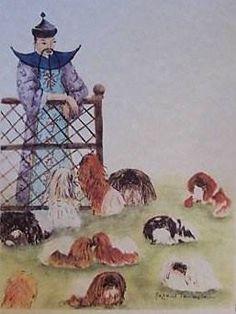 Mandarin looking at his pekingese Dog Lover Gifts, Dog Lovers, Tiny Monkey, Pekingese Puppies, Spaniel Breeds, Fu Dog, Lion Dog, Japanese Chin, Shih Tzu