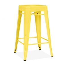 Yellow Powder Coated 65cm Tolix Style Stool | Cult Furniture