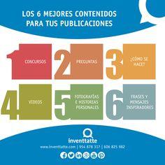 Los 6 mejores contenidos para tus publicaciones #infografía #infographic #marketing