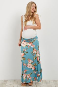Swap out those basic jeans for a fun and flirty maternity maxi skirt in a gorgeous print this season. The beautiful florals in these versatile complimentary colors are the perfect piece to complete your look any time of year. Not just for summer, these maxis look incredible with a basic top and jean jacket or light cardigan for any occasion.
