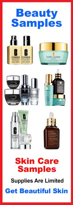 Receive Skincare Samples from New and Top Anti-Aging Brands. Supplies are limited! Apply now to get your beauty samples in the mail.