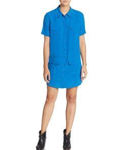 NWT Equipment Remy 100% Silk Utility Shift Shirt Dress, XS, Classic Blue,$258 #equipment #ShirtDress #Casual
