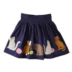 Mini Boden 'Decorative' Cotton Voile Skirt with kittens!