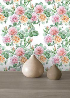 Rose Wallpaper,Watercolor Roses,Pink and Orange Roses, Removable Wallpaper, Peel…