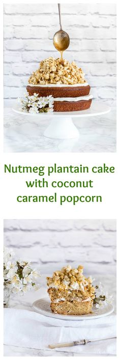 This nutmeg plantain cake with a coconut caramel popcorn topping is really fantastic. A gorgeous plantain dessert recipe! Best Cake Recipes, Cupcake Recipes, Popcorn Recipes, Baking Recipes, Cupcake Cakes, Snack Recipes, Dessert Recipes, Sweet Recipes, Cupcakes