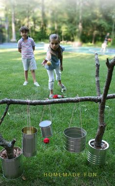 34 Fun DIY Backyard Games and Activities for Kids. Fun for July or outdoor games any time. Diy Projects For Kids, Diy For Kids, Craft Projects, Cool Diy, Easy Diy, Summer Activities, Camping Party Activities, Nature Activities, Camping Theme