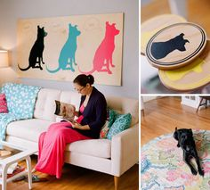 I love the wall decor. Would be so easy to do. Cool piece of wood, dog silhouette stencil, paint. Pet Shop, Dog Grooming Shop, Dog Grooming Salons, Dog Grooming Business, Dog Spa, Dog Daycare, Daycare Ideas, Dog Hotel, Pet Resort